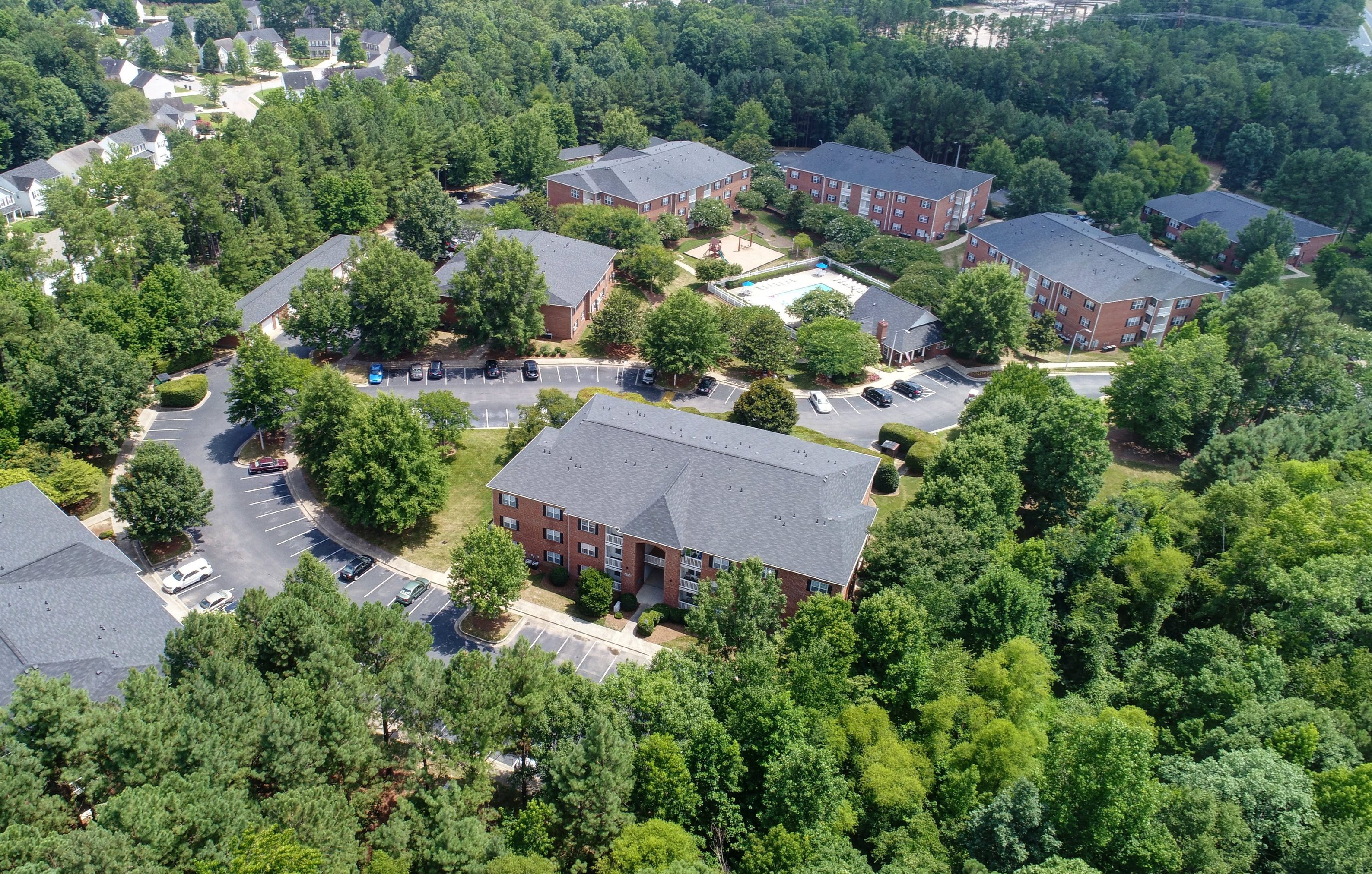 Aerial View of Trellis Pointe Apartment Homes in Holly Springs, NC