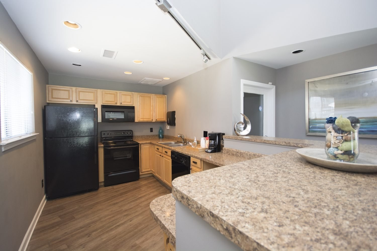 Clubhouse kitchen at Axiom Apartments in Charlotte, North Carolina