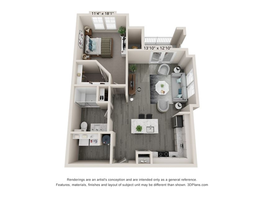 Align - 1 Bedroom floor plan with 1 bath and 795 square feet