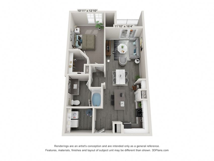 1 Bedroom 1 Bathroom floor plan Hawthorne Waterstone