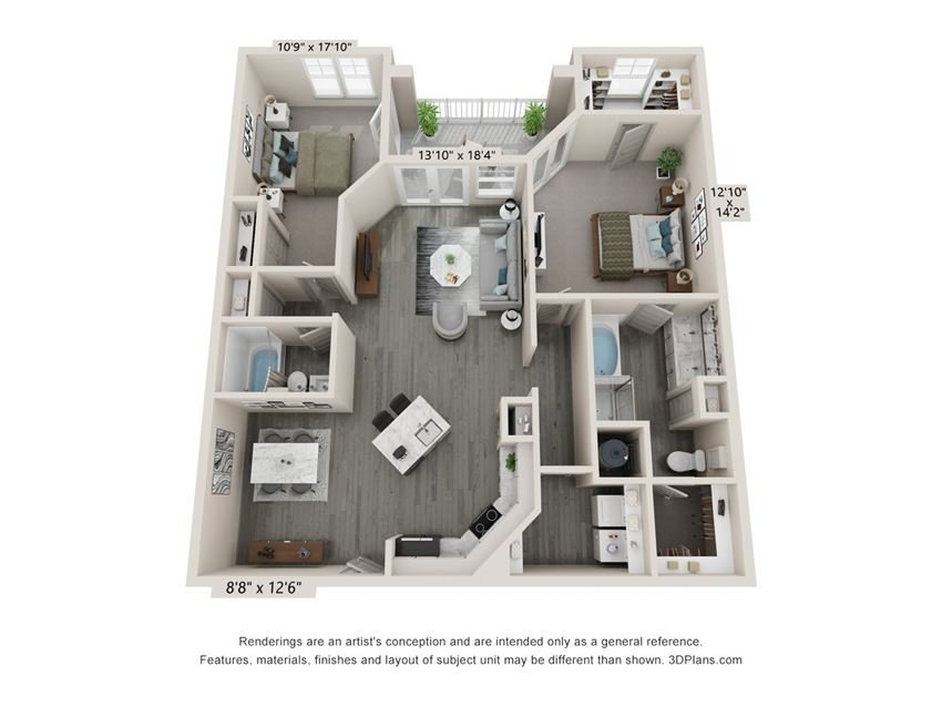 Bliss - 2 bedroom 2 bathroom floor plan