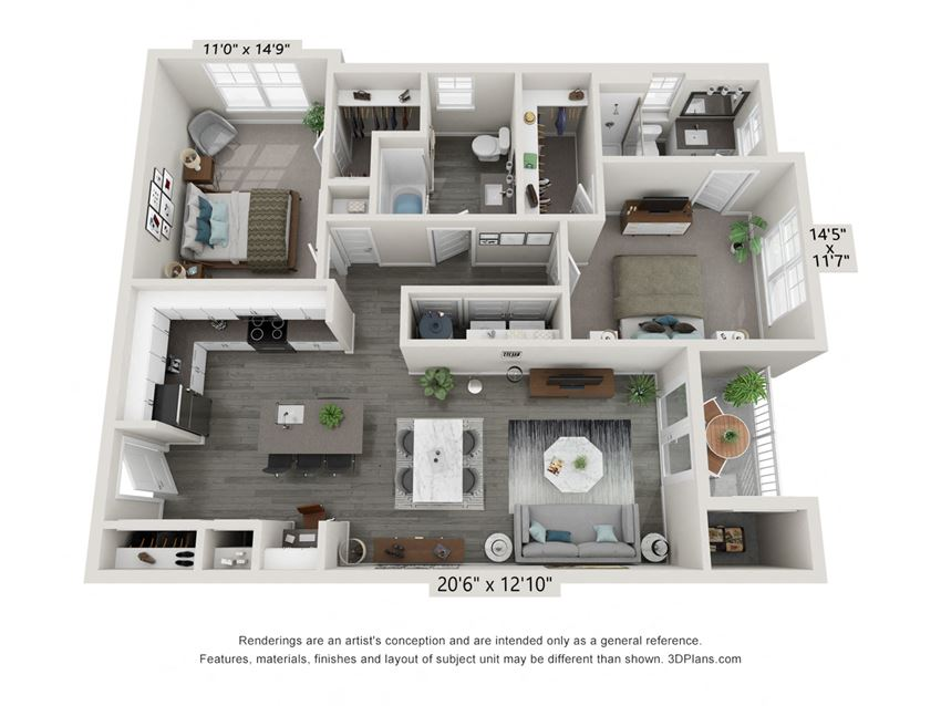 2 Bedroom 2 Bath Floor Plan Hawthorne Waterstone