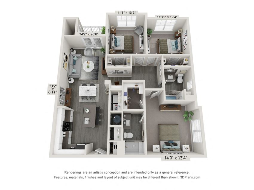 3 Bedroom 2 Bath Floor Plan Hawthorne Waterstone