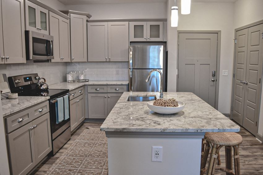 Stunning apartment kitchen with custom cabinetry in Wilmington NC