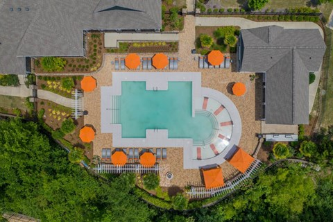Aerial View of the Sparkling Swimming Pool at The Oxmoor in Birmingham, AL