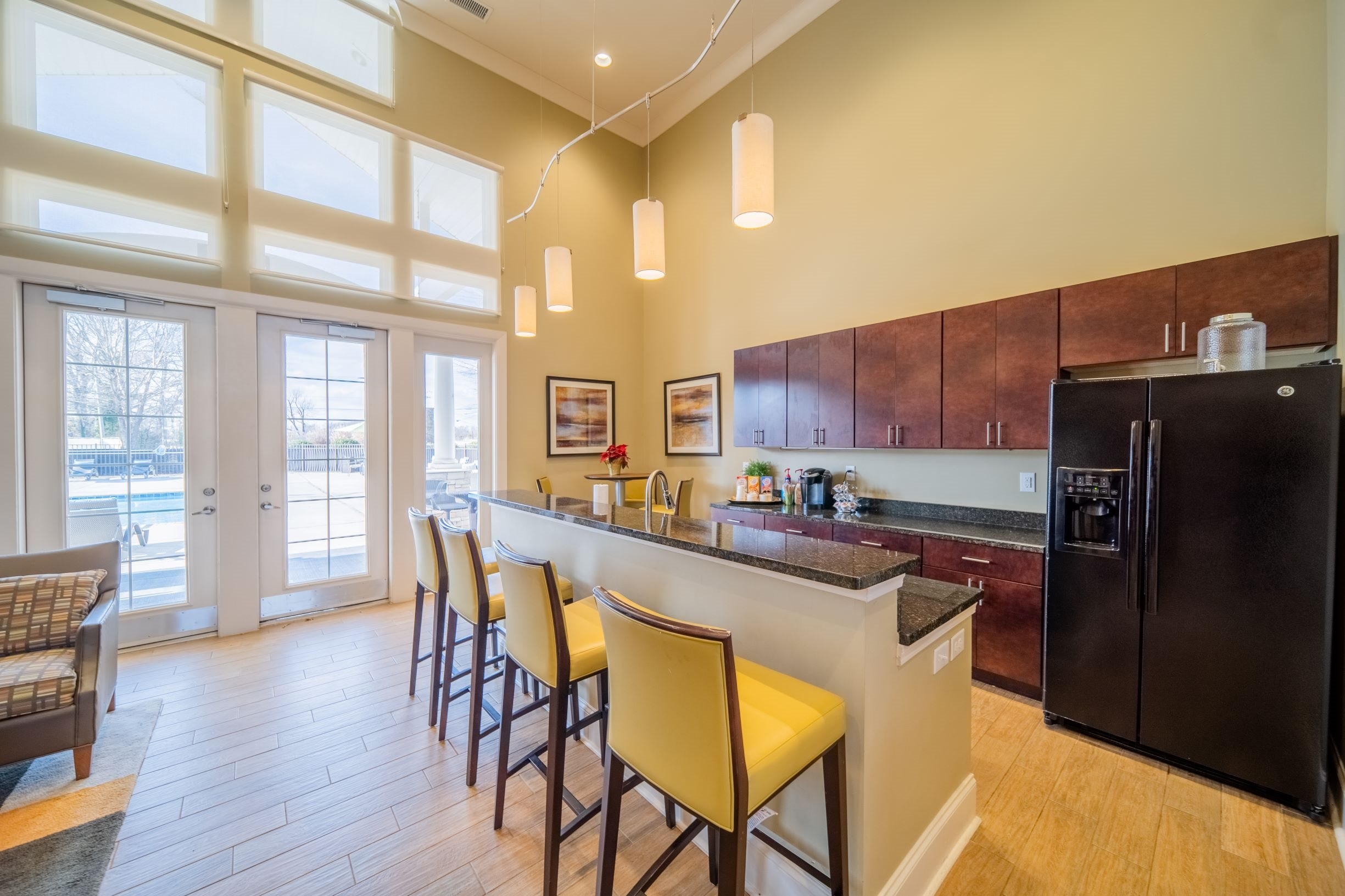 Clubhouse kitchen at Piedmont Place apartments in Greensboro, NC