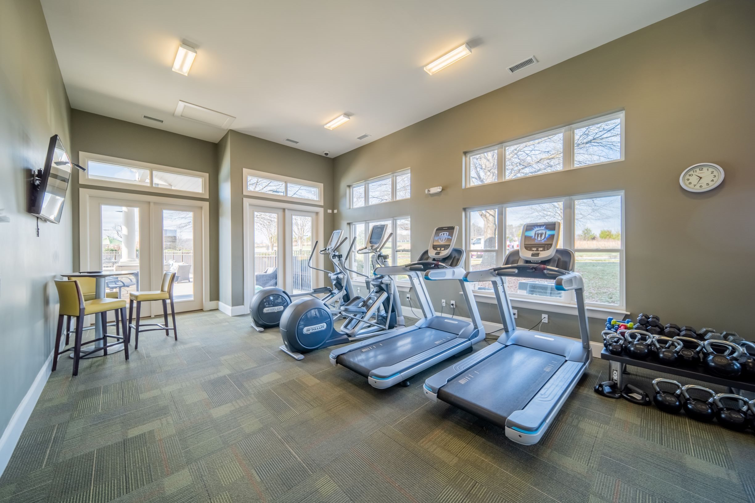 Fitness center at Piedmont Place apartments in Greensboro, NC