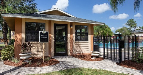 Exterior views of the fitness center at The Reserves of Melbourne Apartment Homes in Melbourne, FL