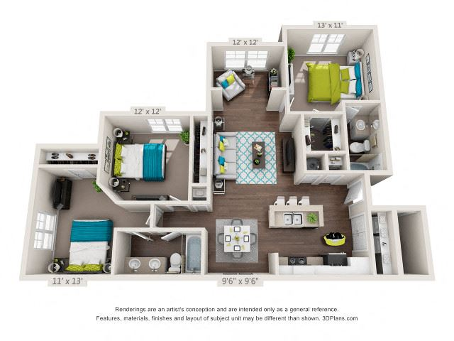 The Madison Floor Plan Rendering at Hawthorne at Main in Kernersville NC