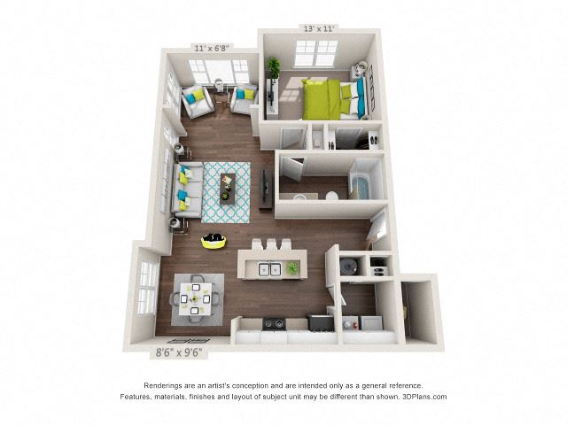 The Majestic Floor Plan Rendering at Hawthorne at Main in Kernersville NC
