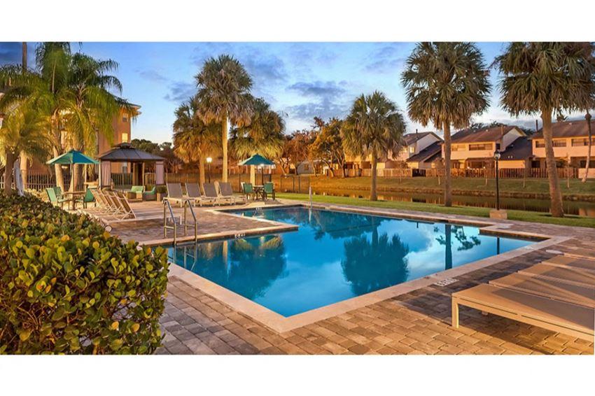 Sparkling swimming pool at Midora at Woodmont in Tamarac, FL