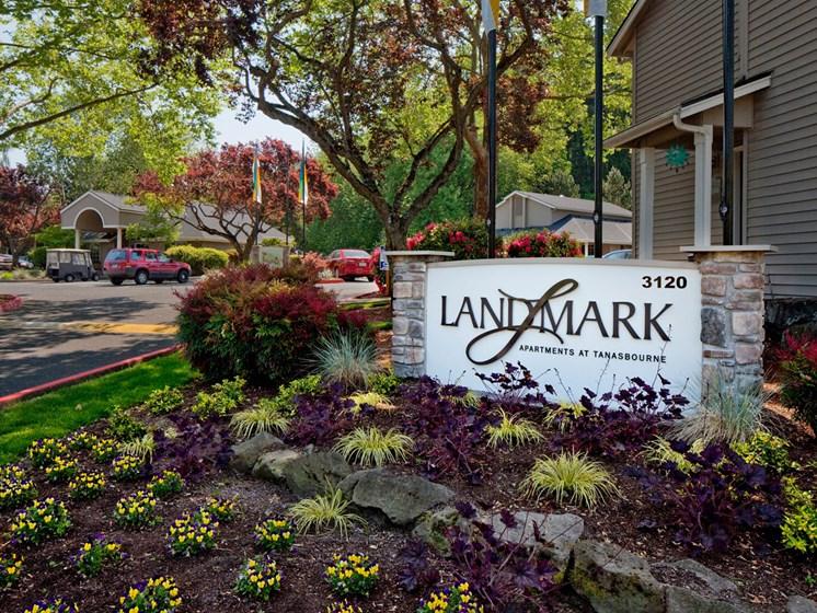 Sign for Landmark at Tanasbourne Apartments in Hillsboro, OR 97124