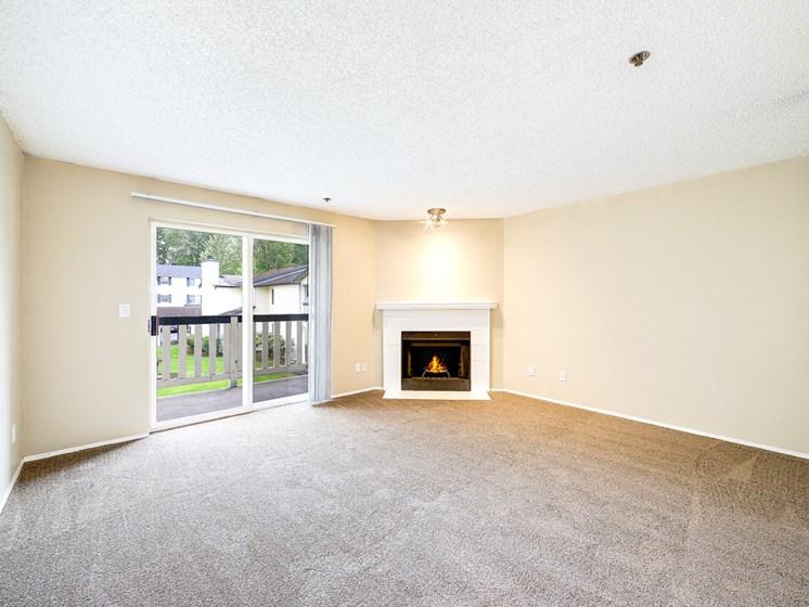 Fireplace sliding door living room