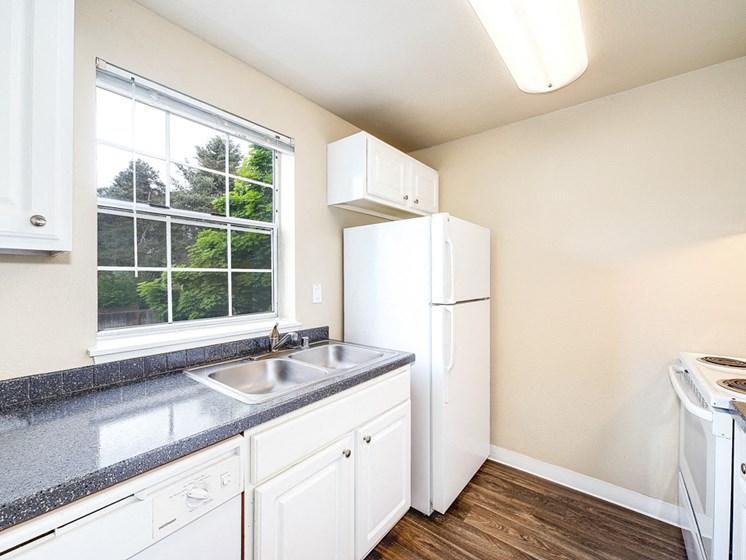 Kitchen area and fridge