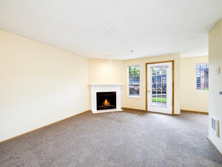 Fireplace with patio door