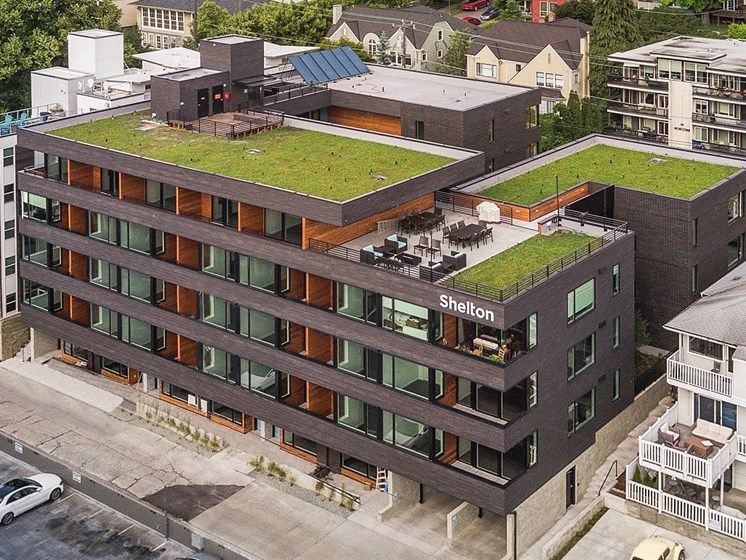 Modern Apartments With Green Roofs  at Shelton Eastlake apartments in Seattle, Washington