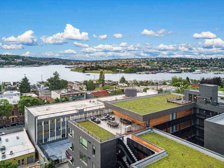 Apartments with Green Roofs  at Shelton Eastlake apartments in Seattle, Washington