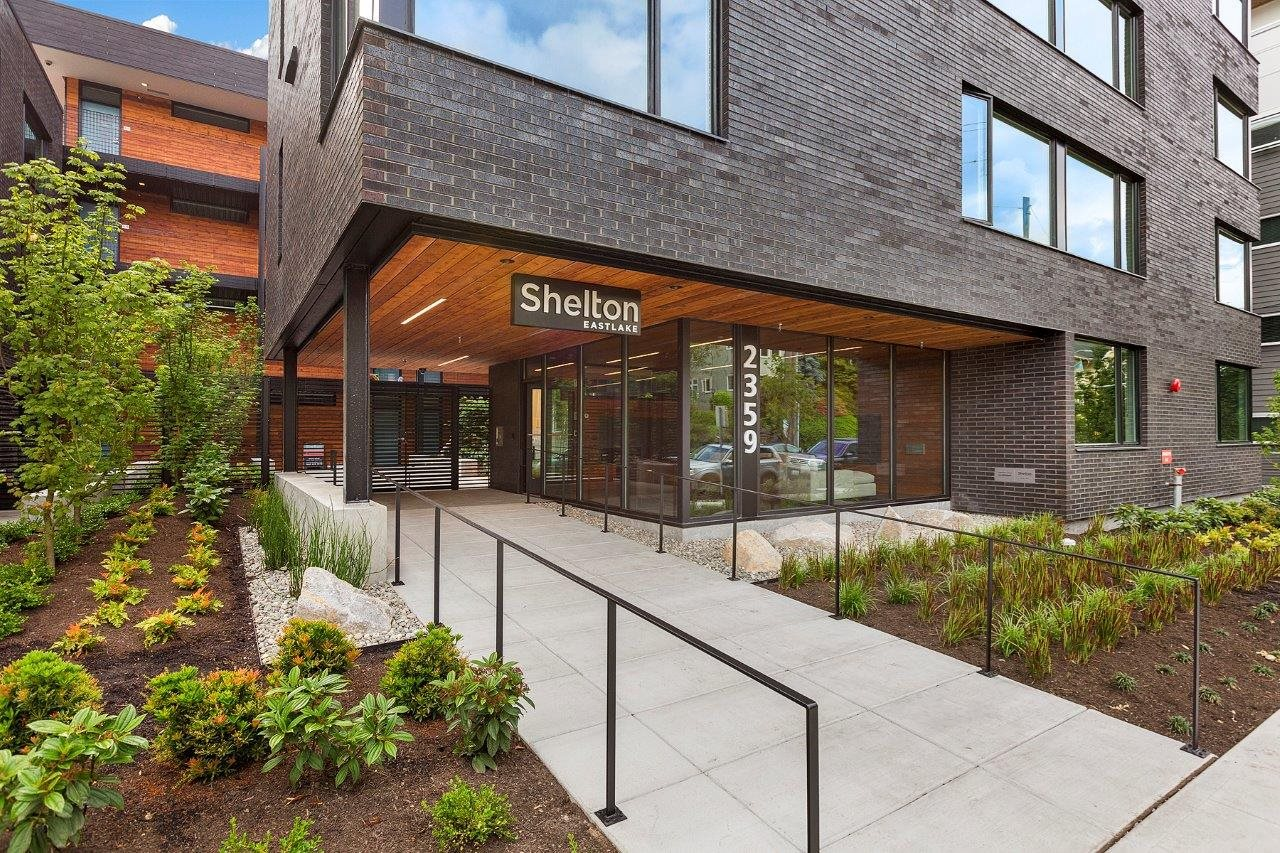 Front Entrance With Walkway  at Shelton Eastlake apartments in Seattle, Washington