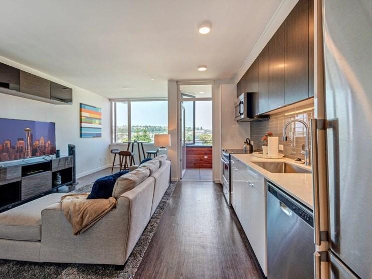 Modern Living Room Interiors  at Shelton Eastlake apartments in Seattle, Washington