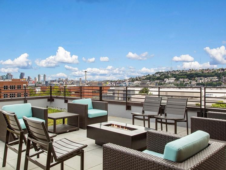 Rooftop Lounge Views at Shelton Eastlake apartments in Seattle, Washington