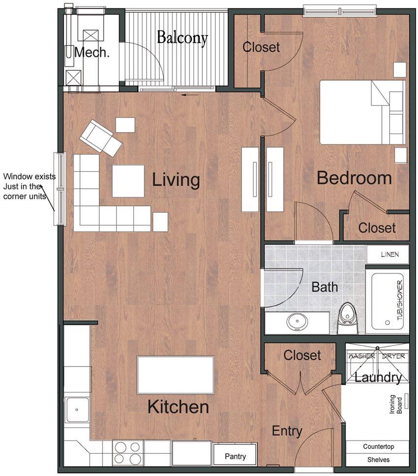 1 Bedroom 1 Bathroom Sto Floor Plan