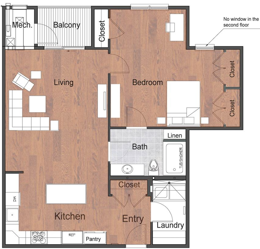 1 Bedroom 1 Bathroom Deluxe Luxury Sto Floor Plan