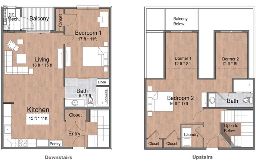 2 Bedroom 2 Bath Townhouse Sto Floor Plan