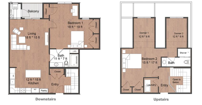 Two Bedroom Two Bath Townhouse Luxury Upstairs and Downstairs