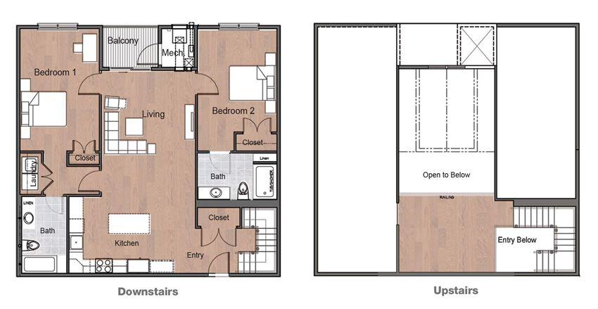 2 Bedroom 2 Bath Loft Sto Floor Plan Upstairs Downstairs Layou