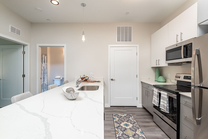Millside kitchen with high quality finishes and stainless steel appliances