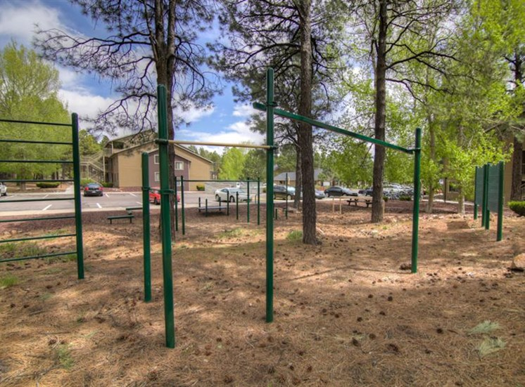 Outdoor Gym at Woodlands Village Apartments, Flagstaff, AZ,86001