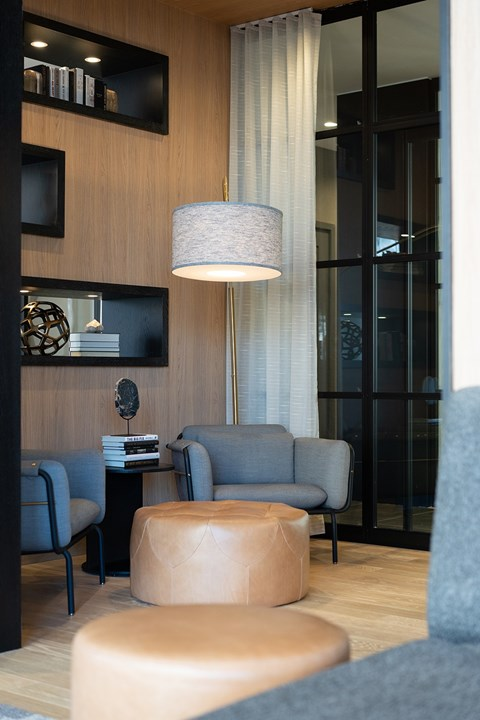 Comfortable seating space in amenities area