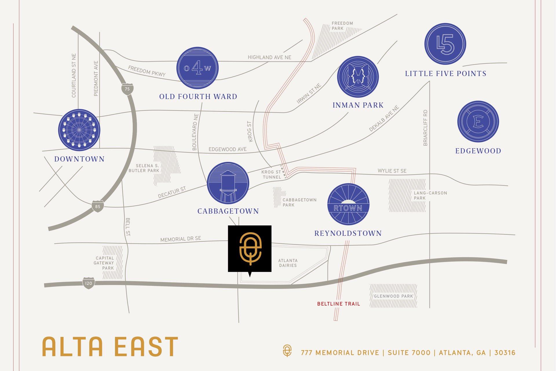 Location map of Alta East in Atlanta, GA