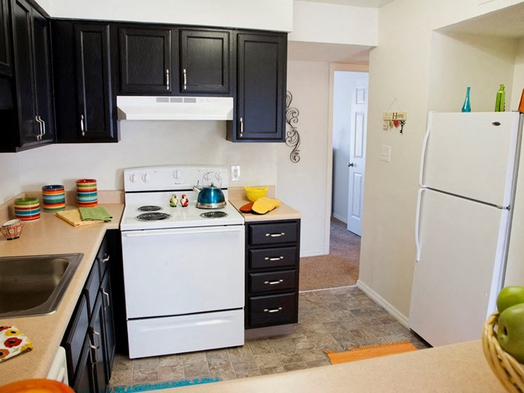 One Bedroom Furnished Kitchen at Lawrence Landing, Indianapolis, Indiana