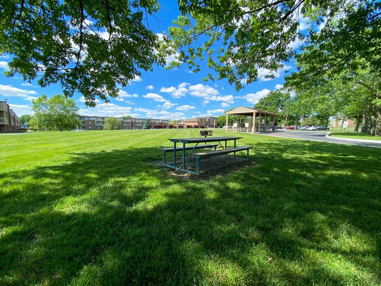 Picnic tables and grills for resident enjoyment