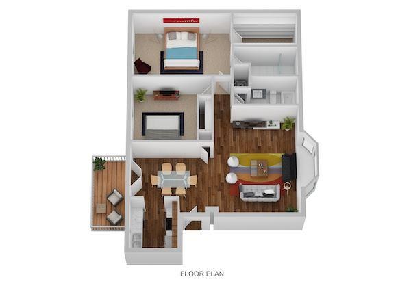 Kirk Floor Plan at Indian Creek Apartments, Ohio, 45236