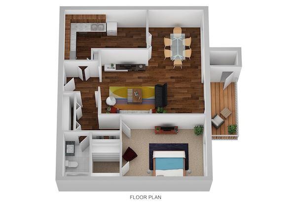 Oxford Floor Plan at Indian Creek Apartments, Cincinnati, Ohio