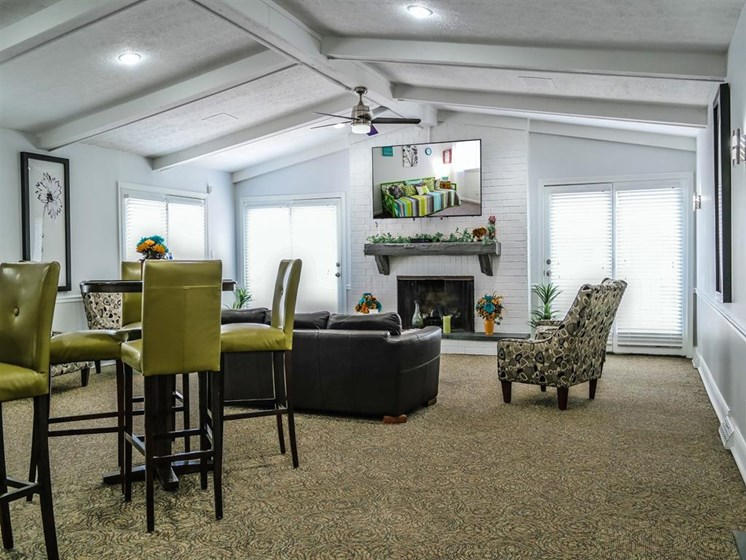 Clubroom With Smart Tv And Fireplace at Lawrence Landing, Indianapolis, IN, 46226