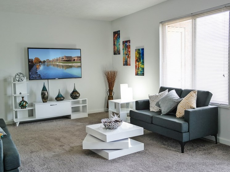 Decorated Living Room With Natural Light at Lawrence Landing, Indianapolis, IN, 46226