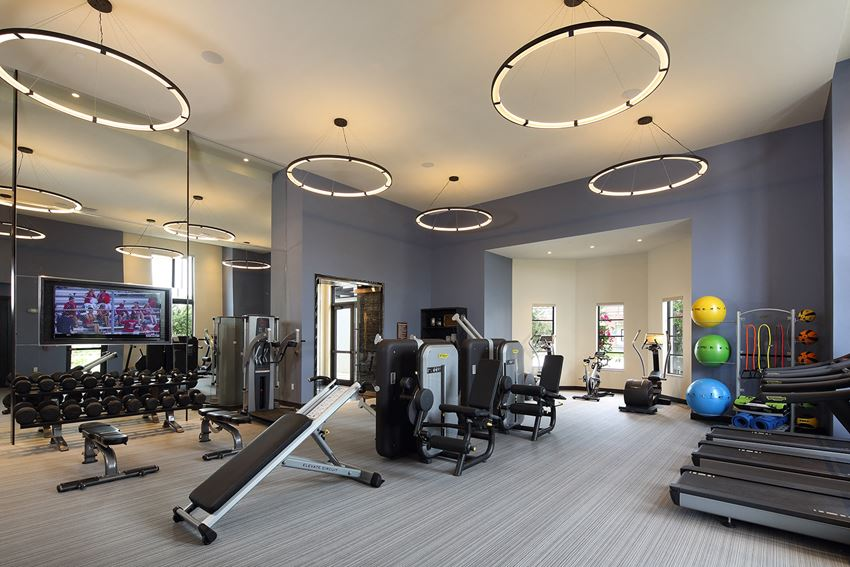 Fitness center with cardio and strength equipment at Windsor at Delray Beach, Delray Beach, FL