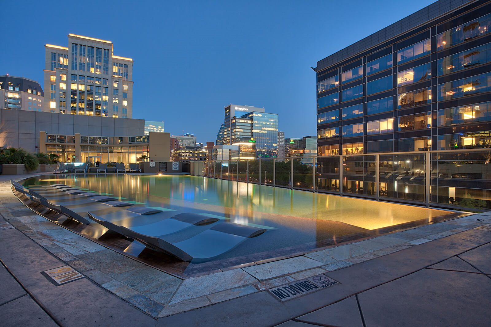 Infinity edge pool at Glass House by Windsor, Dallas, TX