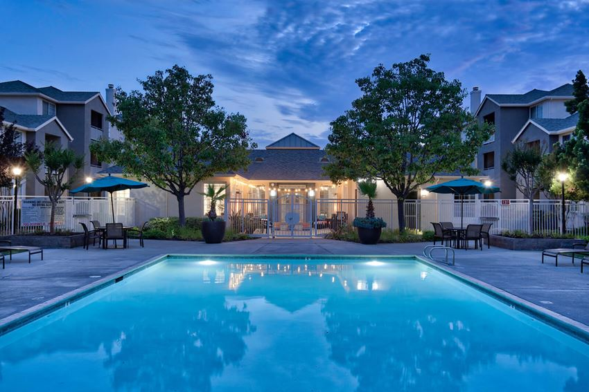 Glimmering Swimming Pool at Pavona Apartments, San Jose, CA