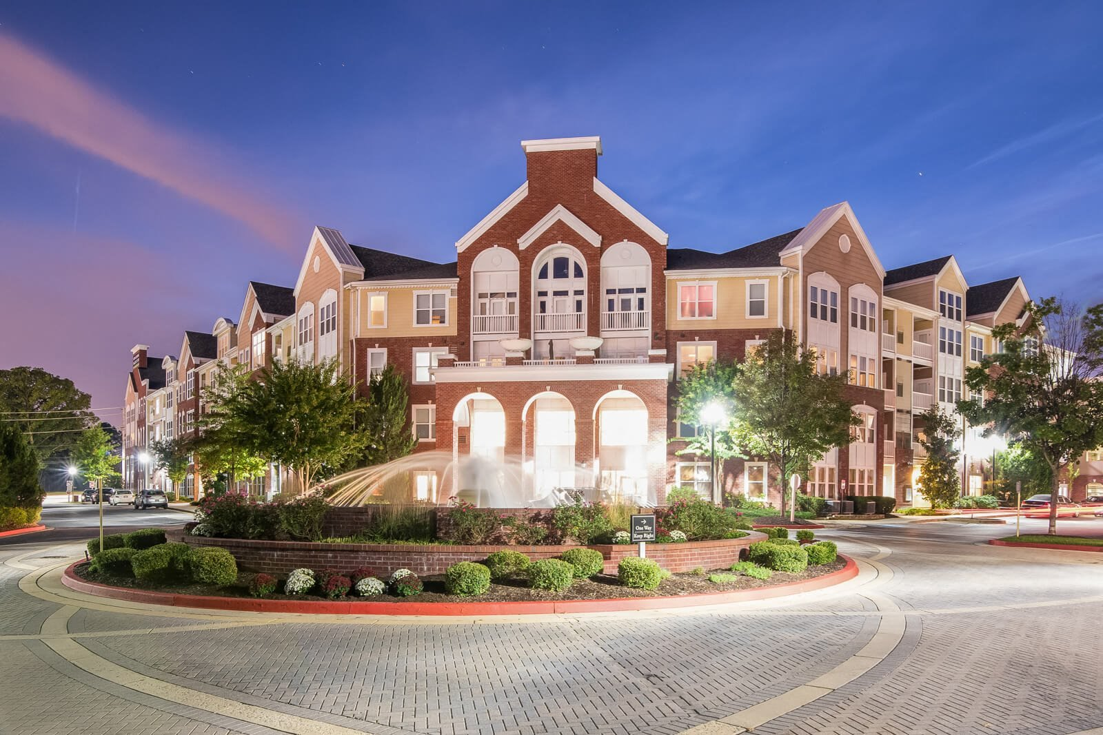 Charming Fountain and Apartment Exterior at Windsor at Contee Crossing, Laurel, Maryland
