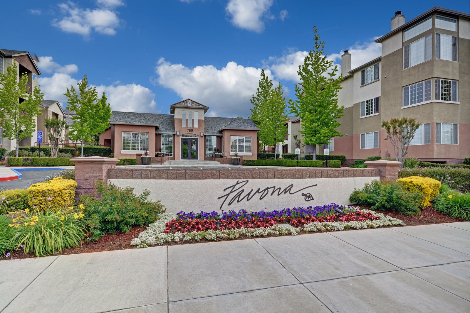 Welcoming Property Signage at Pavona Apartments, 760 N. 7th Street, San Jose