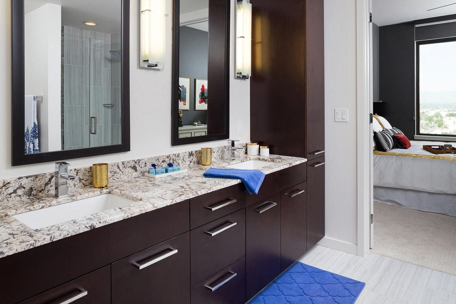 Dual Vanity With Framed Mirrors in Select Apartments at 1000 Speer by Windsor, 1000 Speer Blvd., CO
