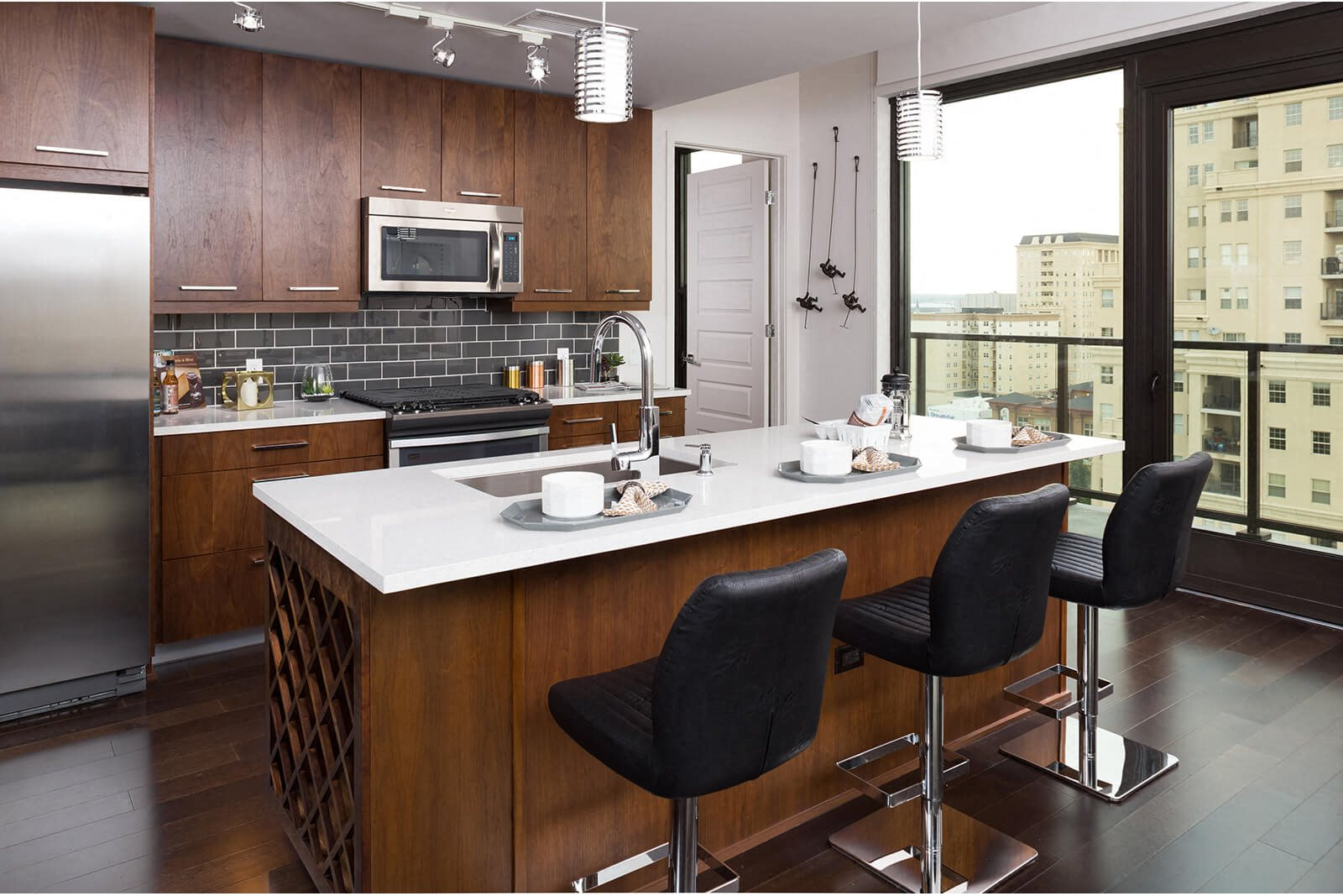 Gloss White, Walnut and Wenge Cabinets Available at 1000 Speer by Windsor, Denver, CO