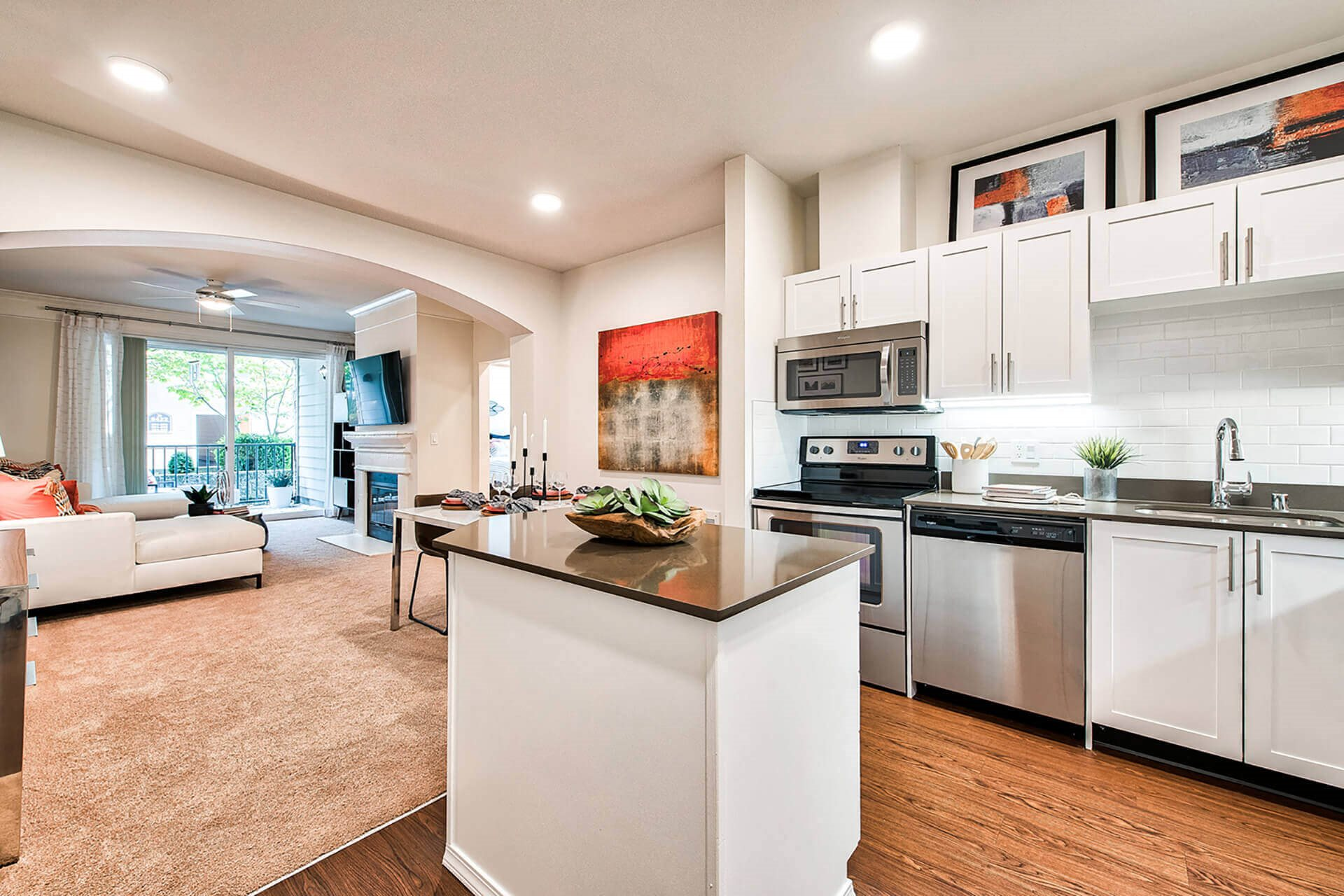 Modern Kitchen With Custom Cabinets And Stainless Steel Appliances at Reflections by Windsor, 98052, WA