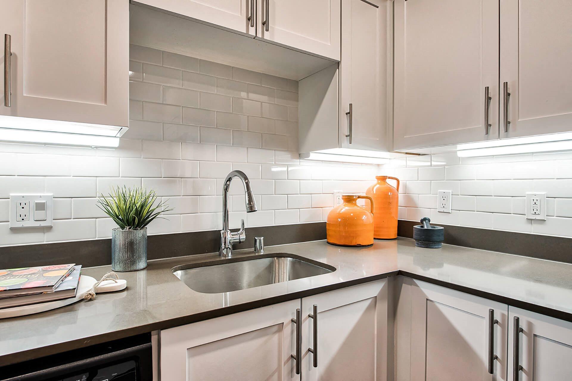Beautiful backsplash tile in kitchen at Reflections by Windsor, 6332 E. Lake Sammamish Parkway NE, WA