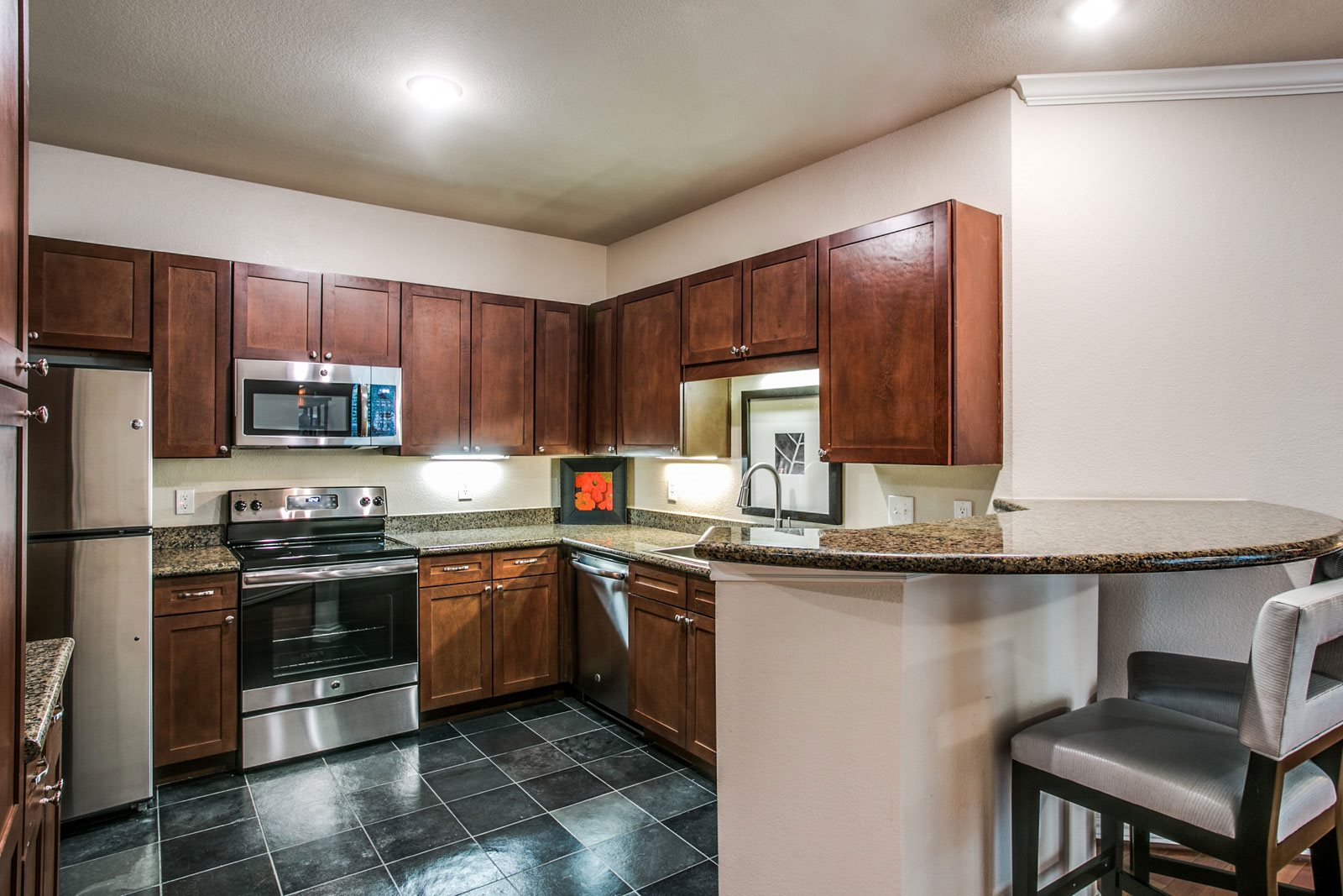 Granite Counter Tops and Slate Flooring at Trianon by Windsor, Texas, 75201