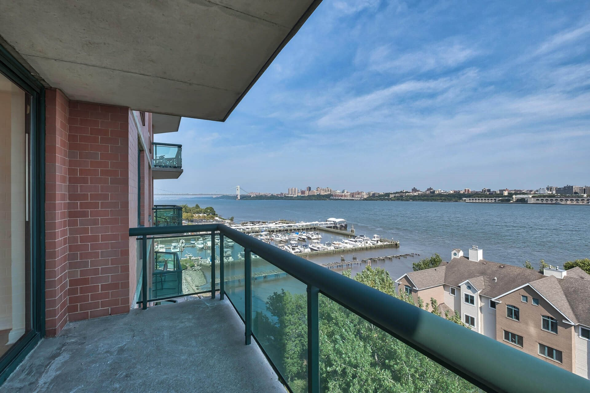 Balcony overlooking the water at Windsor at Mariners, Edgewater, NJ